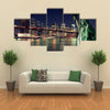 Brooklyn Bridge and the Statue of Liberty at Night, New York City Building Multi panel canvas Wall art