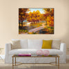 Oil Painting - autumn forest with a river and bridge over the river Multi Panel Canvas Wall Art