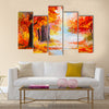 Oil painting landscape - colorful autumn forest Multi Panel Canvas Wall Art