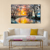 oil painting on canvas - the river, watercolor Multi Panel Canvas Wall Art