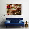 Homemade Dark Chocolate Mousse with Whipped Cream Multi panel canvas wall art