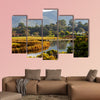 Morning sunshine on a countryside field and hills Multi panel canvas wall art