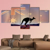 Illustration of an Australian flag and a kangaroo multi panel canvas wall art