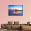 Sunset at Key West with sailing boat and bright sky multi panel canvas wall art