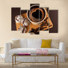 Cup of coffee with foam, heart shaped Multi Panel Canvas Wall Art