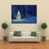 Christmas tree in Snow Multi Panel Canvas Wall Art