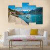 Harbour and boats at Boka Kotor bay (Boka Kotorska), Montenegro, Europe. Multi Panel Canvas Wall Art