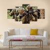 Military soliders stormed the building Multi Panel Canvas Wall Art