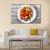 Basket of fresh organic fruit and vegetables in garden Multi panel canvas wall art