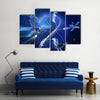 Surveillance Or GPS Satellite System On Earth In A High Technology Illustration Multi Panel Canvas Wall Art