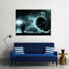 Man Conquering Cosmic Landscape Multi Panel Canvas Wall Art