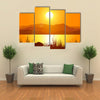 Rocky Mountains Presenting The Glorious Sunset Reflection, Multi Panel Canvas Wall Art