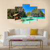 Filipino boat in the sea, Coron, Philippines multi panel canvas wall art