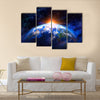 planet earth in outer space Multi Panel Canvas Wall Art