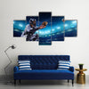 Professional baseball players on the grand arena in night Multi Panel Canvas Wall Art