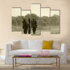 World War II era soldiers on a country road Multi Panel Canvas Wall Art