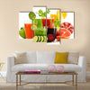 Glasses with fresh organic vegetable and fruit juices isolated on white, Detox diet, Multi panel canvas wall art