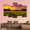 A sunflower field in Kansas with a beautiful sunset Multi panel canvas wall art
