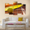Tennis ball on a tennis court Multi panel canvas wall art