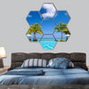 Tropical beach resort with lounge chairs hexagonal canvas wall art
