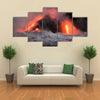 Beautiful View Hot lava stream is flowing into the ocean. Hawaii, Big Island multi panel canvas wall art