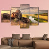 Beautiful summer sunset at the river with reflection in Ukraine multi panel canvas wall art