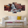 Beautiful waterfall in autumn forest. Silver Stream Waterfall Multi Panel Canvas Wall Art