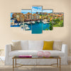 Precious apartments and harbor with luxury yachts in the bay,Monte Carlo,Monaco,Europe Multi panel canvas wall art