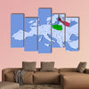 3D map of Europe with flag of Poland multi panel canvas wall art