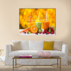 Fresh juice mix fruit, healthy drinks on wooden table Multi panel canvas wall art