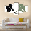 Abstract vector illustration of hockey player silhouette Multi panel canvas wall art