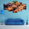 BBQ chicken wings with spices and dips Multi panel canvas wall art