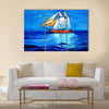 Original oil painting of sail ship and sea on canvas Multi Panel Canvas Wall Art