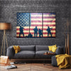 Beautiful US Flag On Grunge Multi Panel Canvas Wall Art