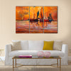Original oil painting of boats and sea on canvas Multi Panel Canvas Wall Art