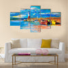 Original oil painting of lighthouse and boats on canvas Multi Panel Canvas Wall Art