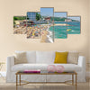 A crowded beach scene at the Golden Sands coastal resort in Bulgaria Multi panel canvas wall art