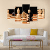 wooden chess pieces with chess desk multi panel canvas wall art