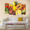Group of fresh fruits and vegetables organics for healthy Multi panel canvas wall art