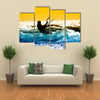 Kite boarder action with sunset Multi panel canvas wall art