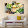 Green fresh healthy smoothie with fruits and vegetables Multi panel canvas wall art