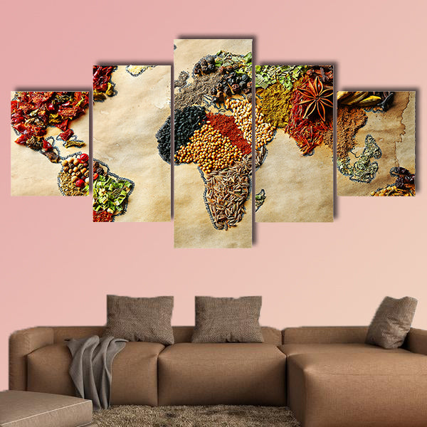 Map of world made from different kinds of spices, close-up multi panel canvas wall art