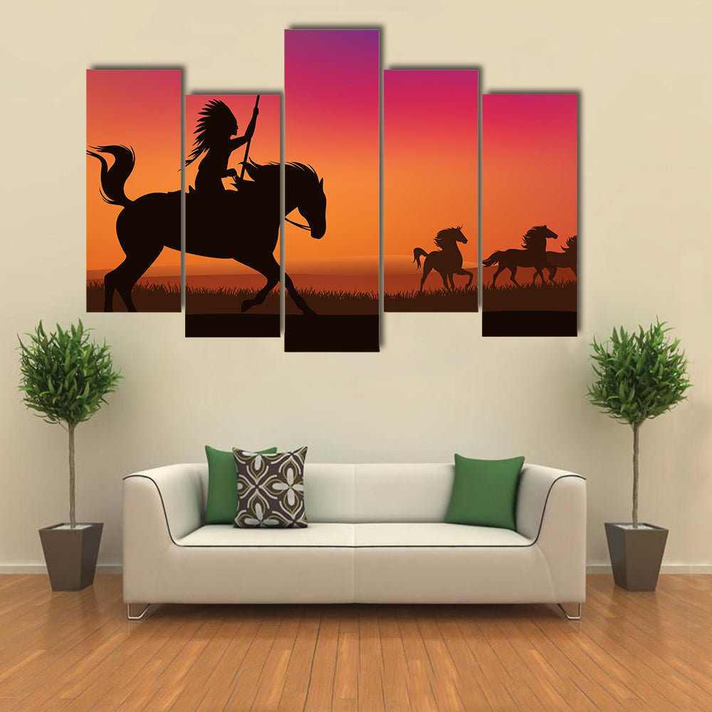 Wild west scene with horses and native American rider Multi panel canvas wall art