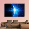 Planet earth with sunrise in space multi panel canvas wall art