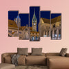 Burgplatz in Braunschweig at evening multi panel canvas wall art