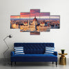 Budapest parliament at dramatic sunrise Multi Panel Canvas Wall Art