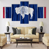Wyoming flag pattern with a peace on fabric texture Multi panel canvas wall art