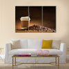 Paper cup of coffee with smoke and coffee beans Multi Panel Canvas Wall Art