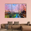 Cherry blossoms at night, Busan city in South Korea multi panel canvas wall art