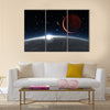 Sunrise over the Phobos with red planet Mars Multi Panel Canvas Wall Art
